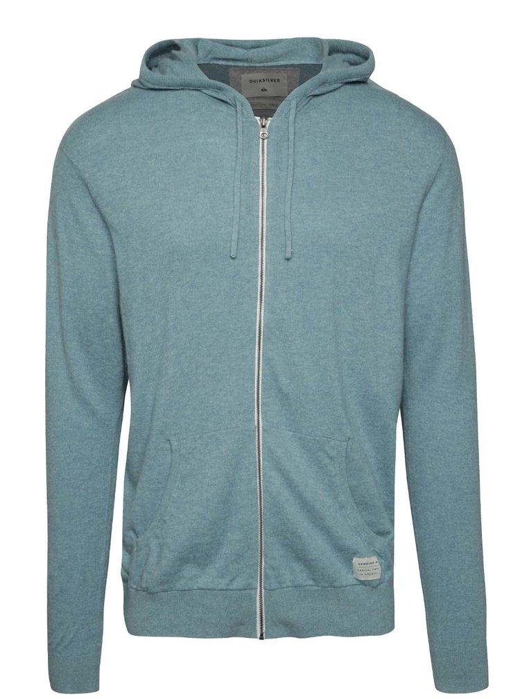 Světle modrý pánský svetr na zip s příměsí lnu Quiksilver
