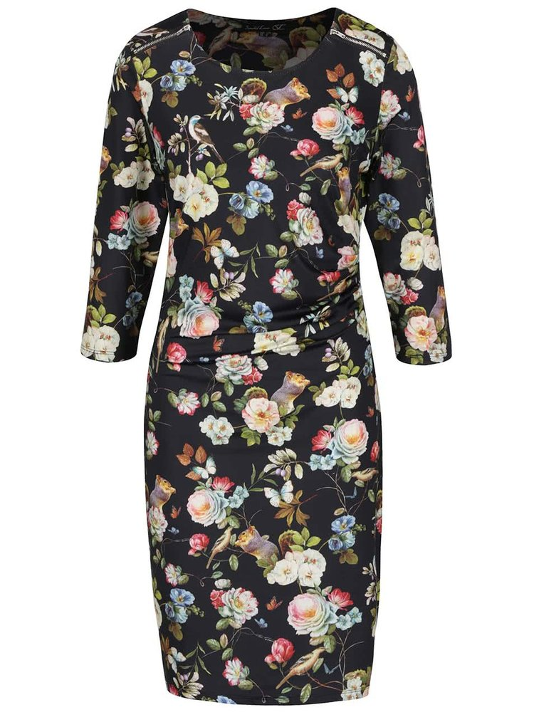 Rochie midi neagră Smashed Lemon cu imprimeu floral multicolor