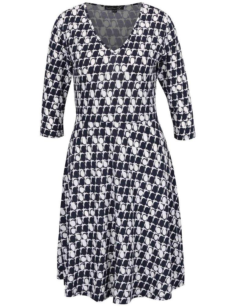 Tmavě modré vzorované šaty s 3/4 rukávem Smashed Lemon