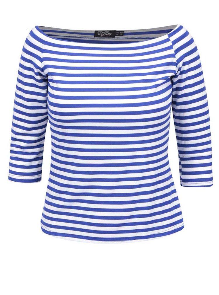 Modro-biele pruhované tričko s odhalenými ramenami Dolly & Dotty Gloria