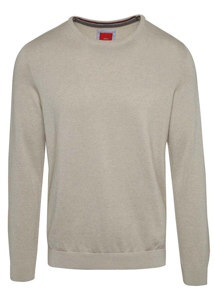 Béžový pánský žíhaný svetr s.Oliver