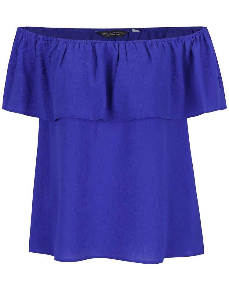 Bluză albastru închis Dorothy Perkins cu volan decorativ