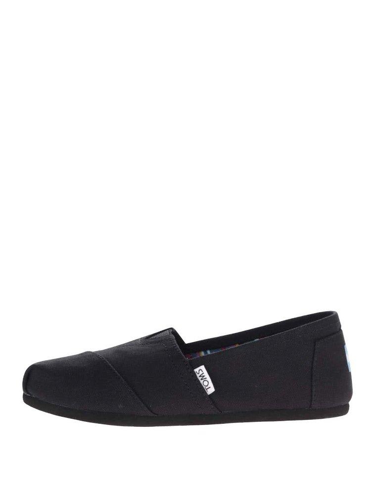Čierne dámske loafers TOMS Canvas Classic
