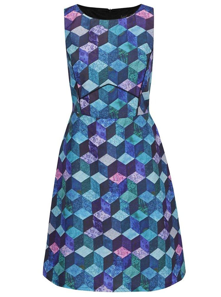 Tmavě modré vzorované šaty bez rukávů Smashed Lemon
