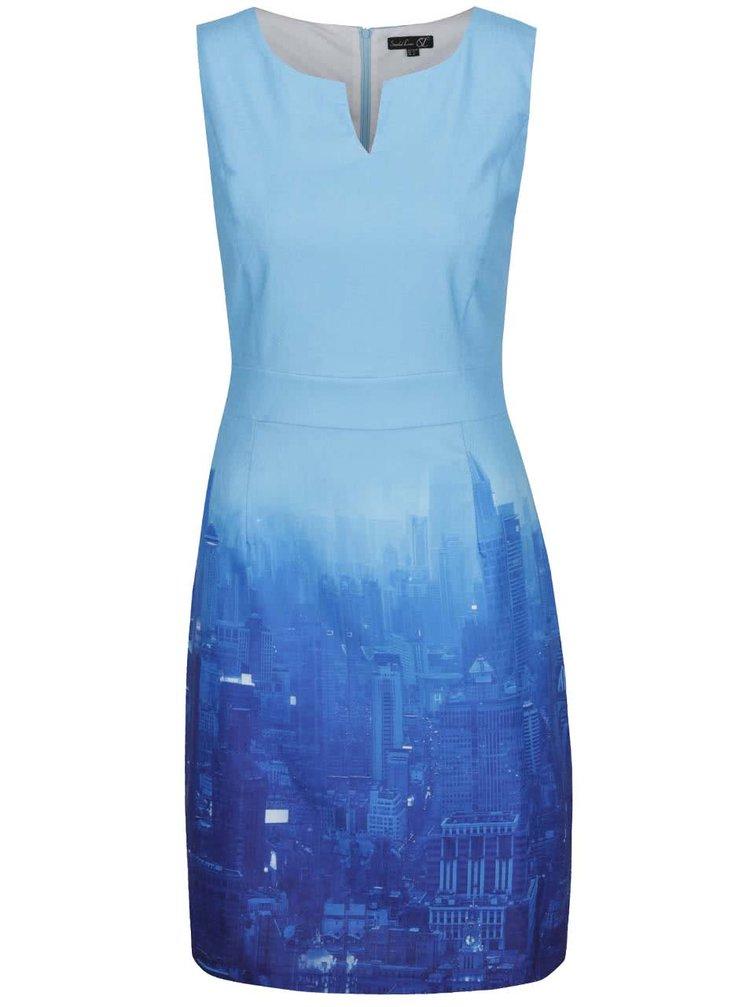 Modré šaty bez rukávů s motivem města Smashed Lemon