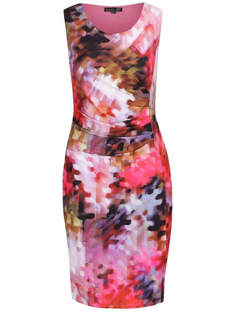 Růžové pouzdrové vzorované šaty Smashed Lemon