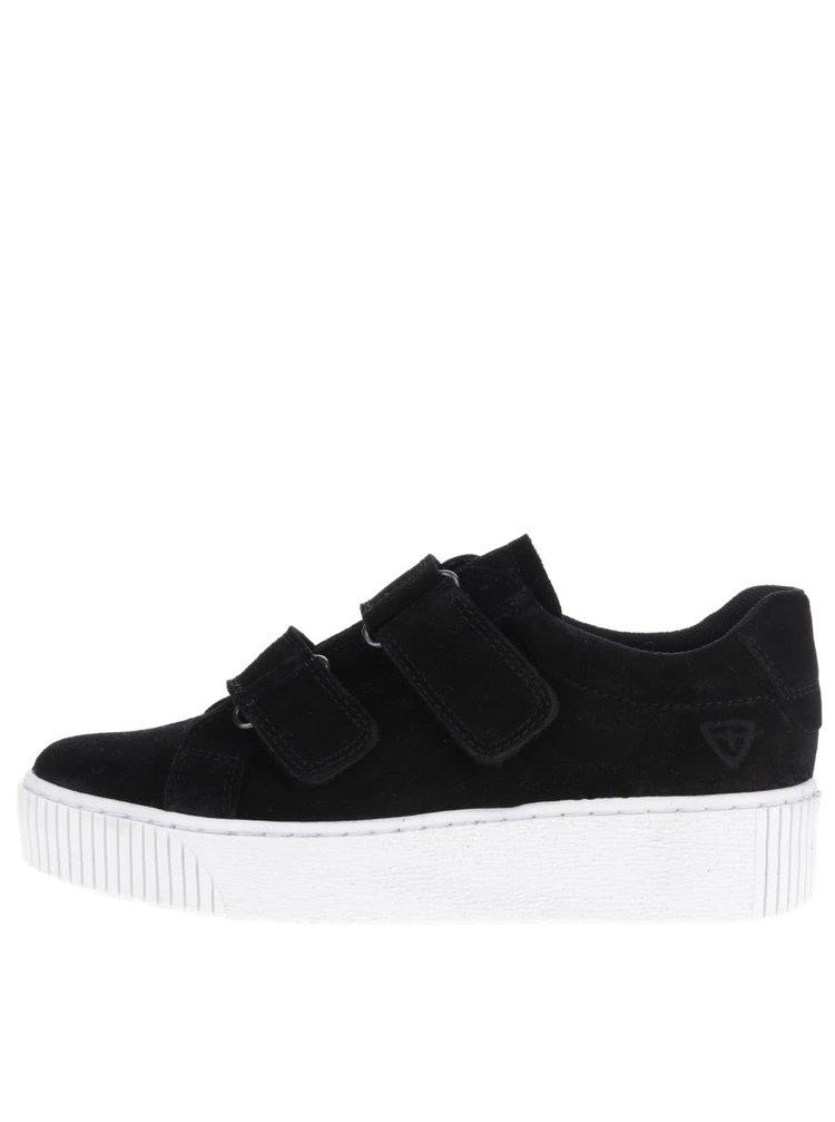 Pantofi sport negri cu platformă Tamaris din piele întoarsă