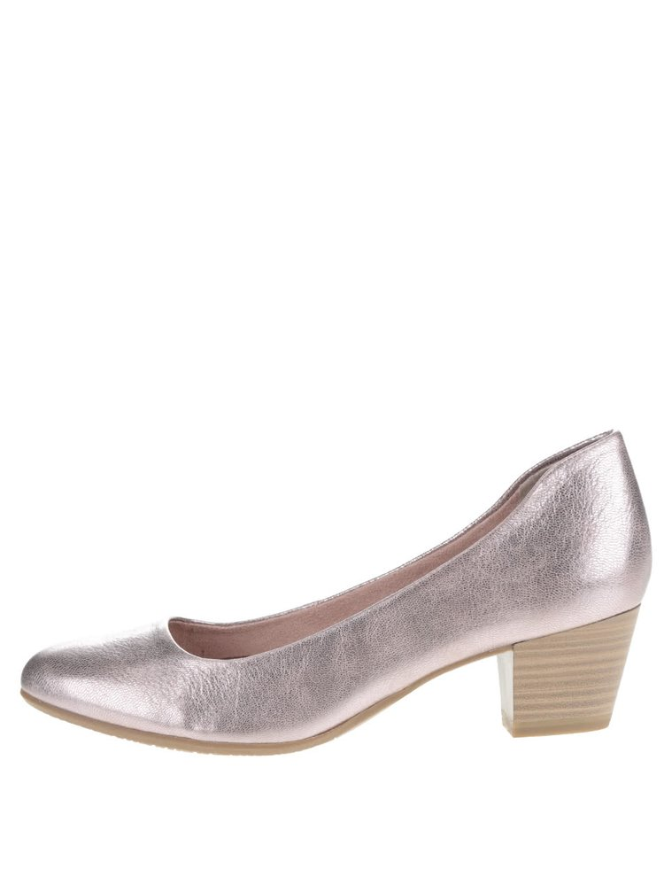 Pantofi auriu rose Tamaris din piele