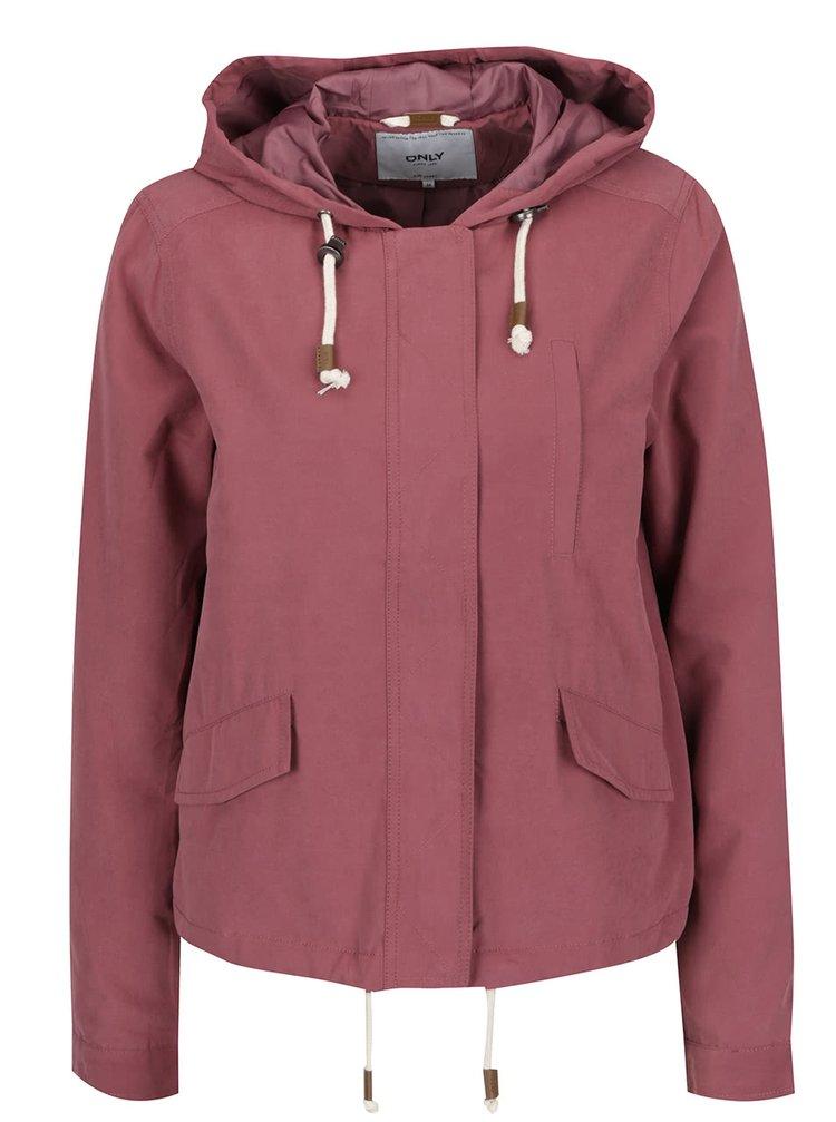 Jachetă roz închis ONLY Skylar cu glugă