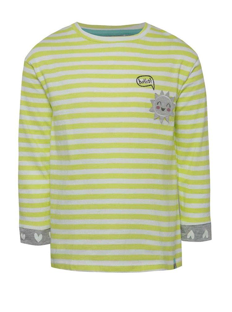 Zeleno-bílé holčičí pruhované tričko s dlouhým rukávem 5.10.15.
