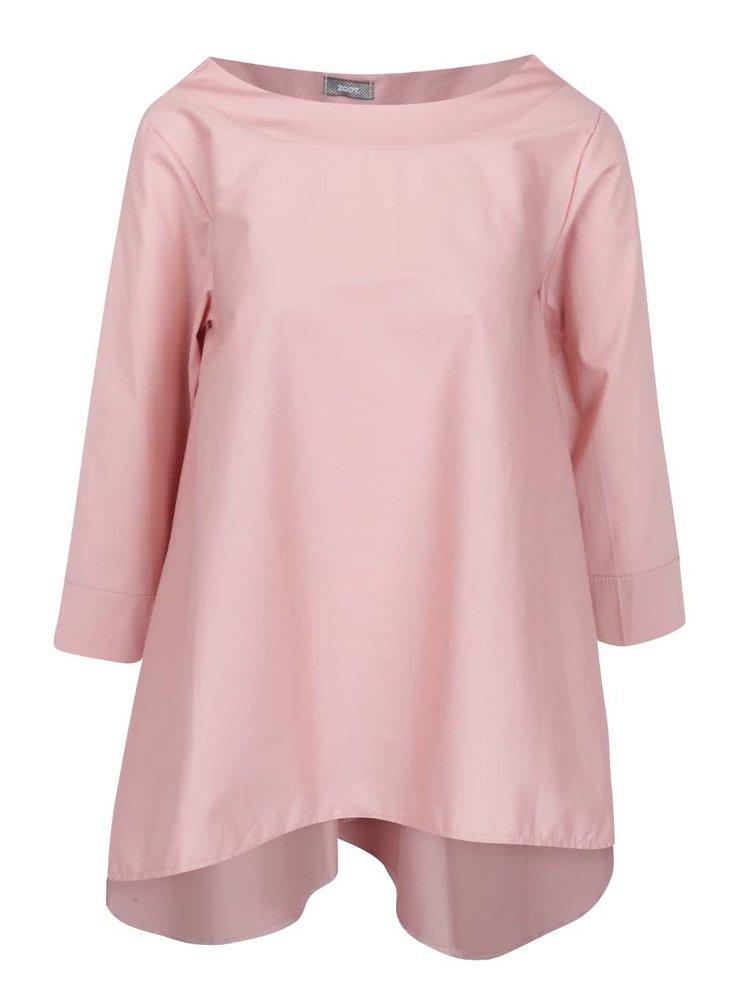 Bluză supradimensionată roz pal ZOOT cu tiv asimetric