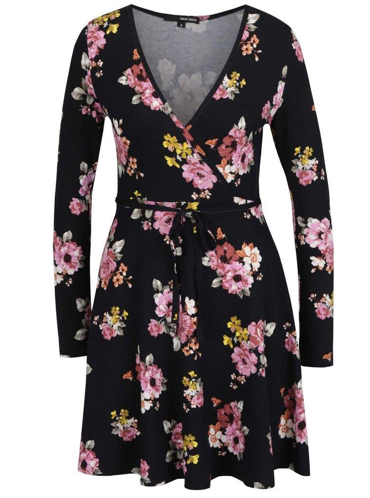 Černé květované šaty s překládaným výstřihem TALLY WEiJL