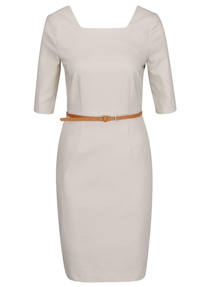 Krémové pouzdrové šaty s páskem VERO MODA Roos