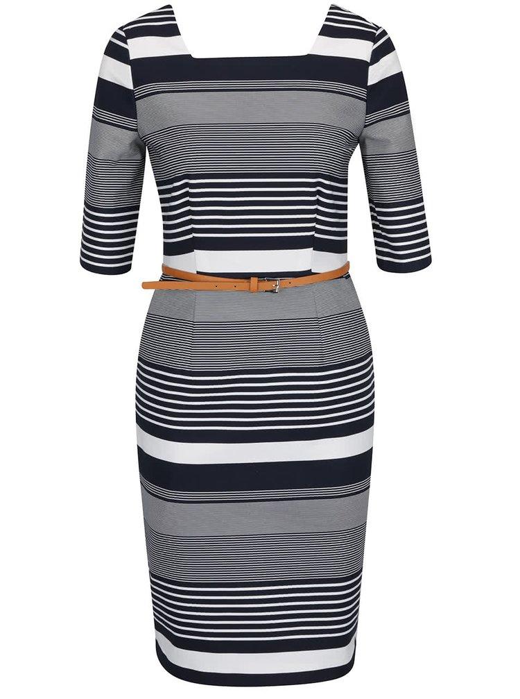 Krémovo-modré pouzdrové pruhované šaty s páskem  VERO MODA Roos