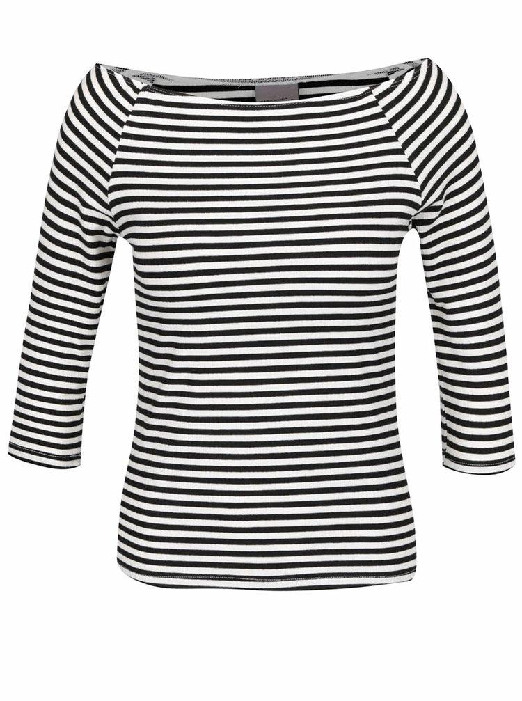 Bluză alb&negru în dungi VERO MODA New Yeng cu decolteu pe umeri