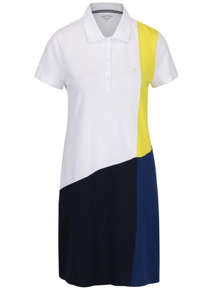 Žluto-bílo-modré polo šaty Nautica