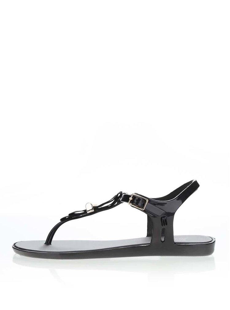 Sandale negre Melissa Solar cu detaliu metalic
