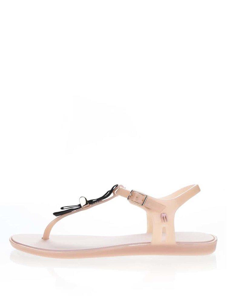 Starorůžové sandály s černou mašlí Melissa Solar