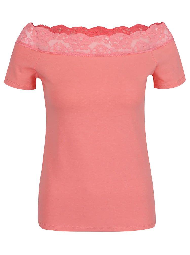 Tricou roz deschis Dorothy Perkins cu dantelă