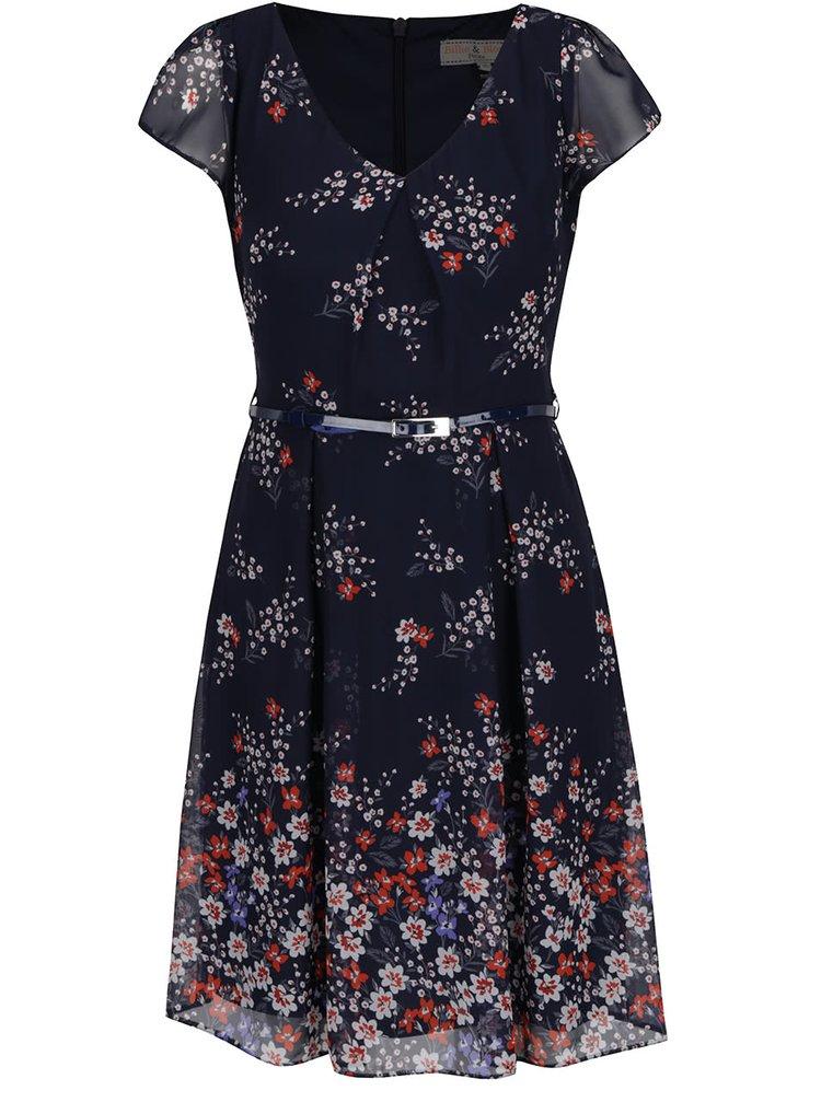 Tmavě modré květované šaty s páskem Billie & Blossom