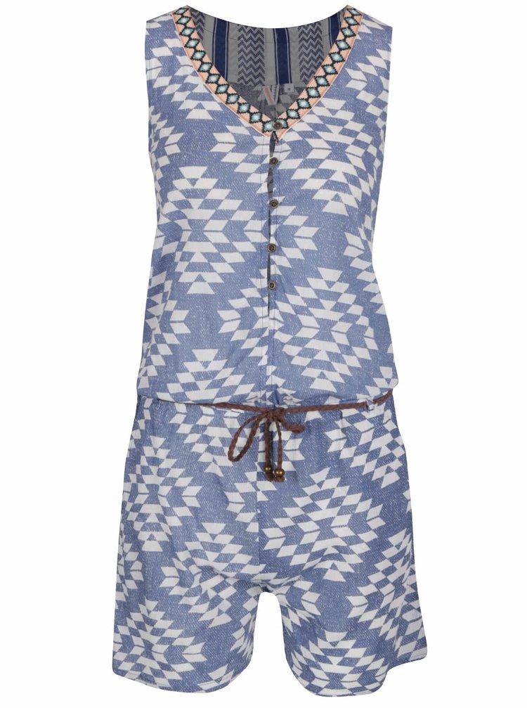 Bílo-modrý krátký vzorovaný overal Rip Curl Del Sol Combi