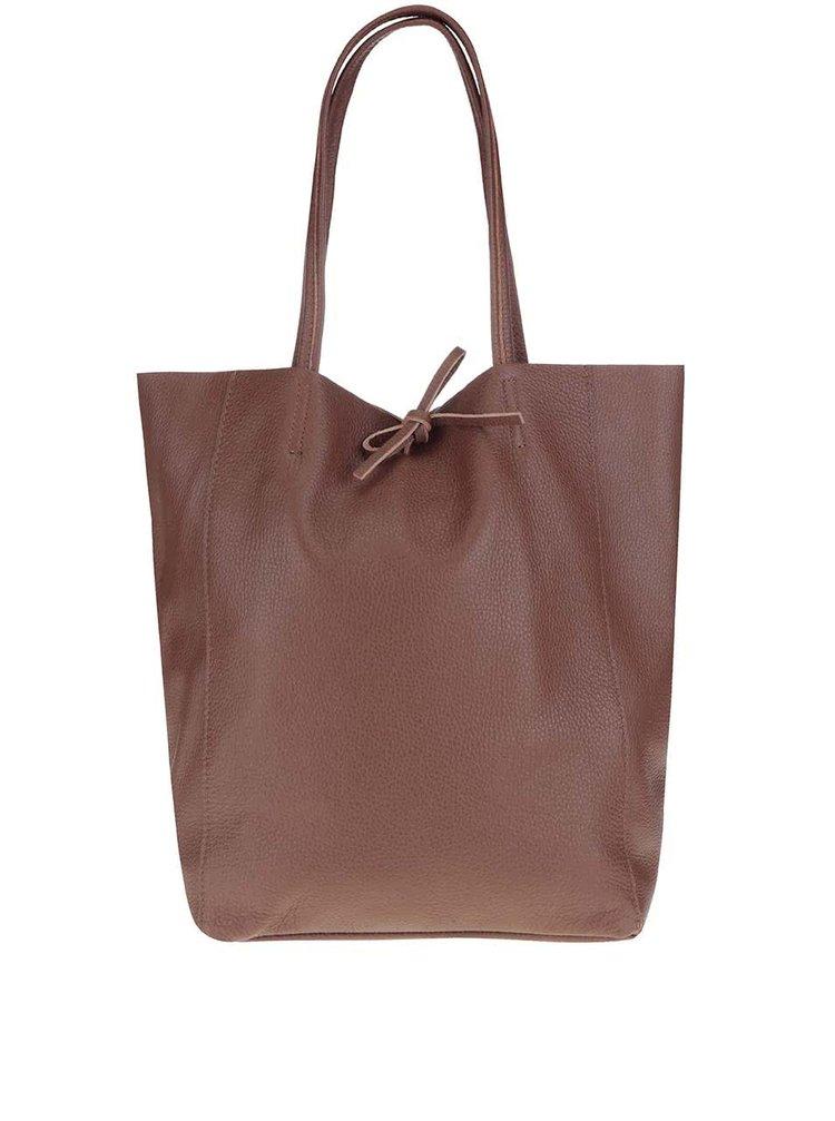 Hnedý kožený shopper ZOOT