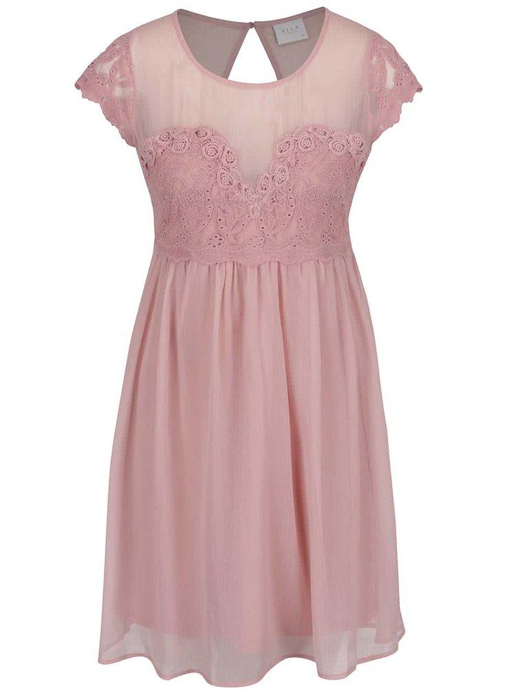Světle růžové šaty s krajkovým topem VILA Maker