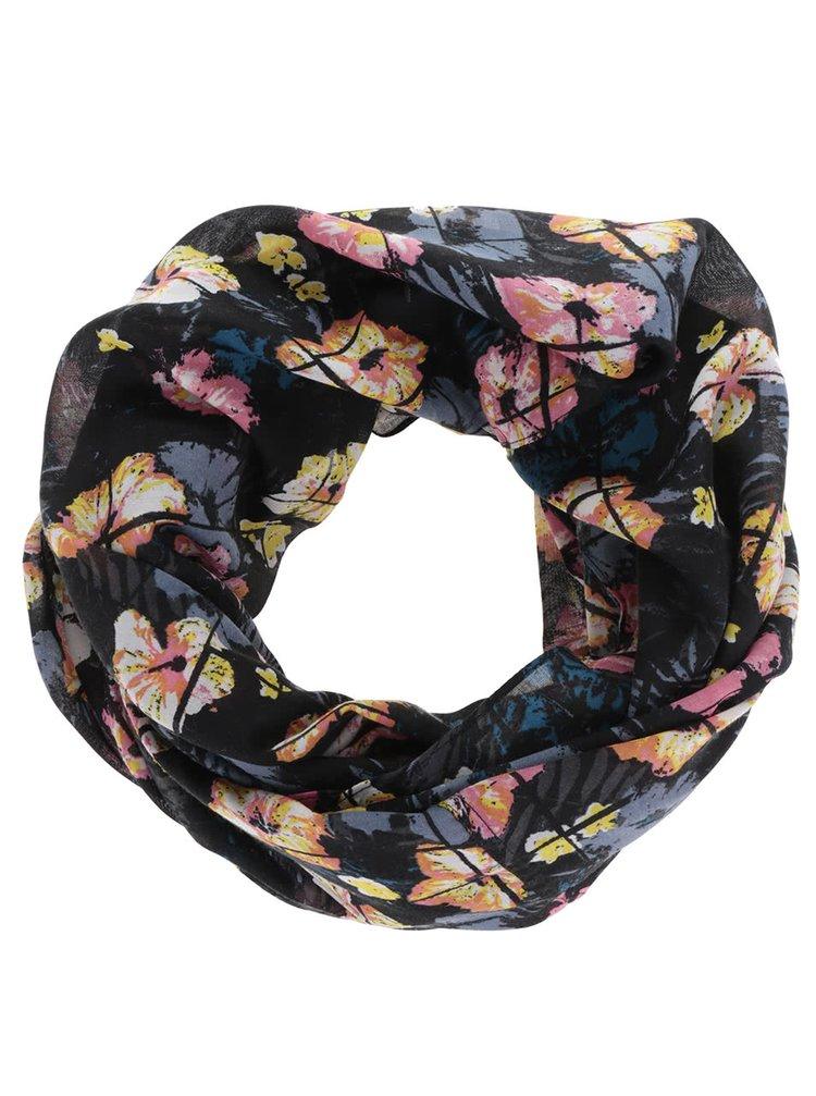 Růžovo-černý květovaný dutý šátek Pieces Seanna