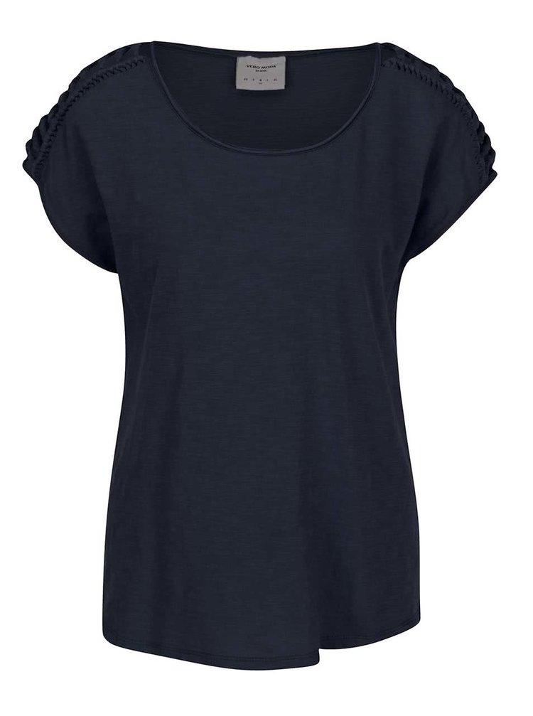 Tricou bleumarin VERO MODA Braida cu detalii împletite