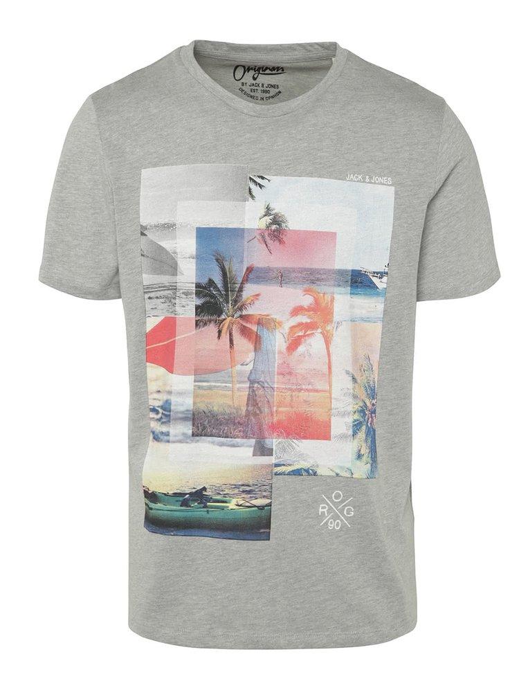 Světle šedé žíhané triko s potiskem Jack & Jones Beachie