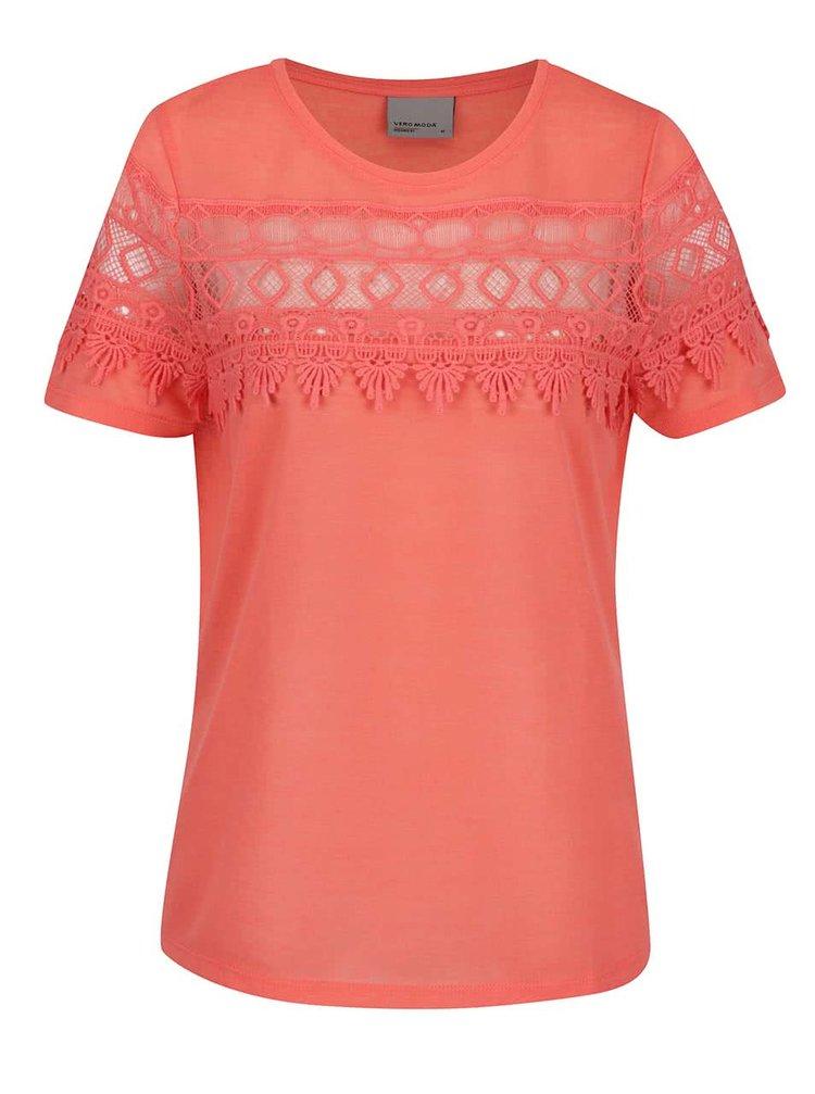 Růžové tričko s krajkou VERO MODA Melani