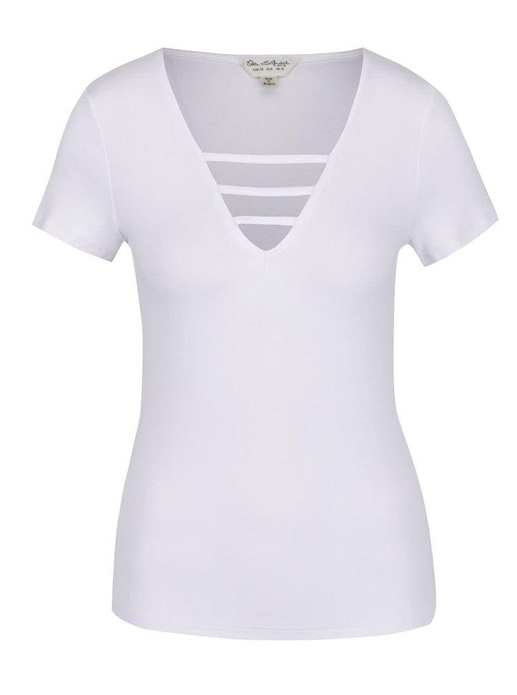 Bílé tričko s pásky v dekoltu Miss Selfridge
