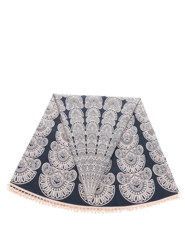 Růžovo-modrý vzorovaný kulatý šátek Pieces Landua