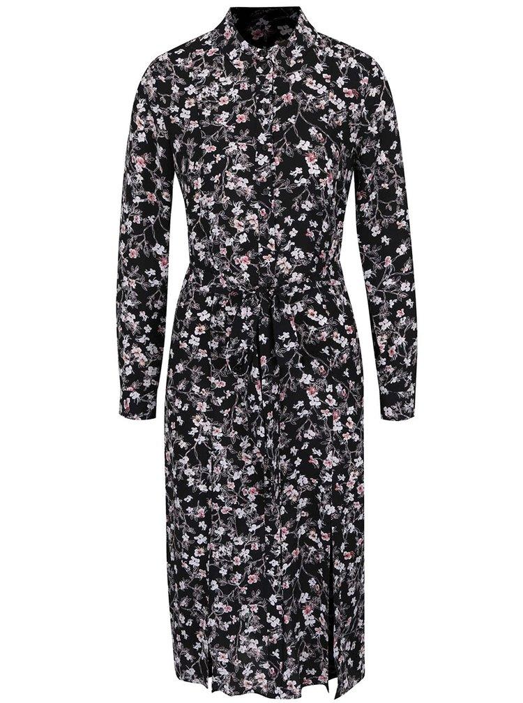 Černé košilové květované šaty Miss Selfridge