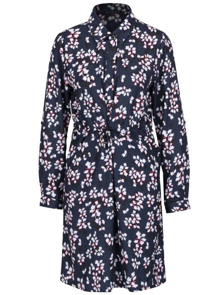 Rochie cămașă bleumarin French Connection Wilis cu model floral
