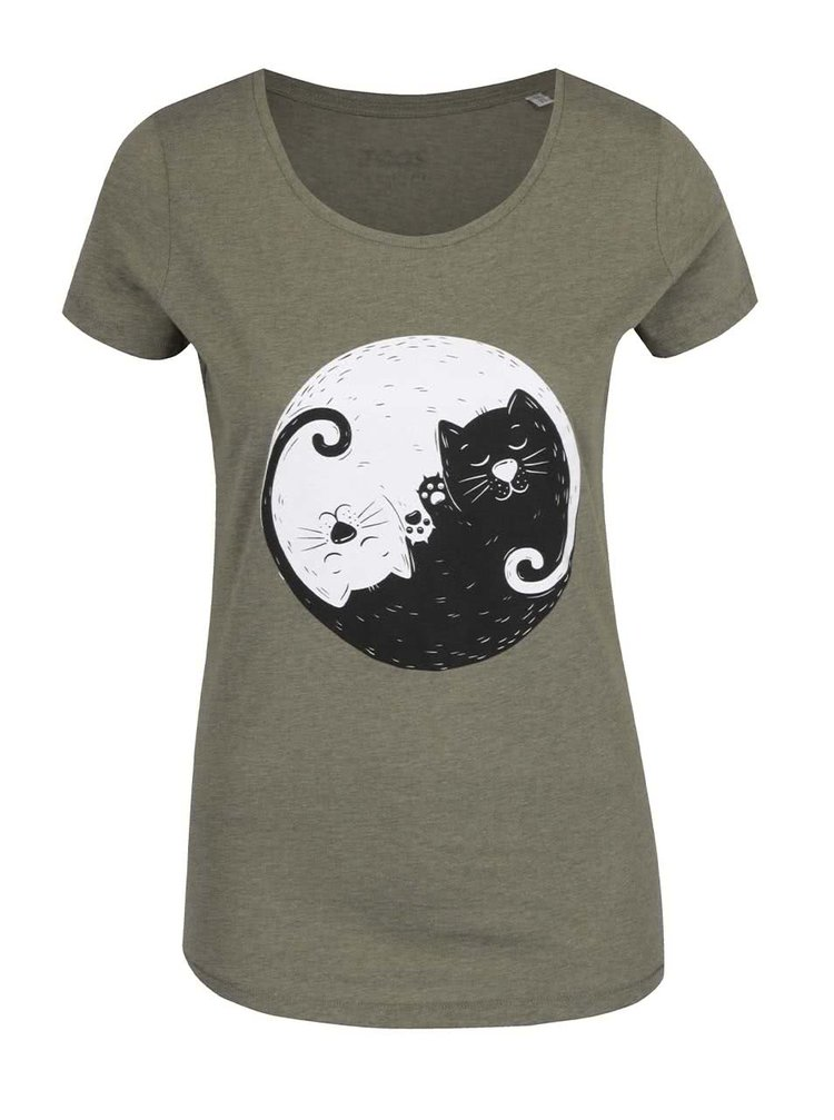 Kaki dámske tričko ZOOT Originál Jinjang cats