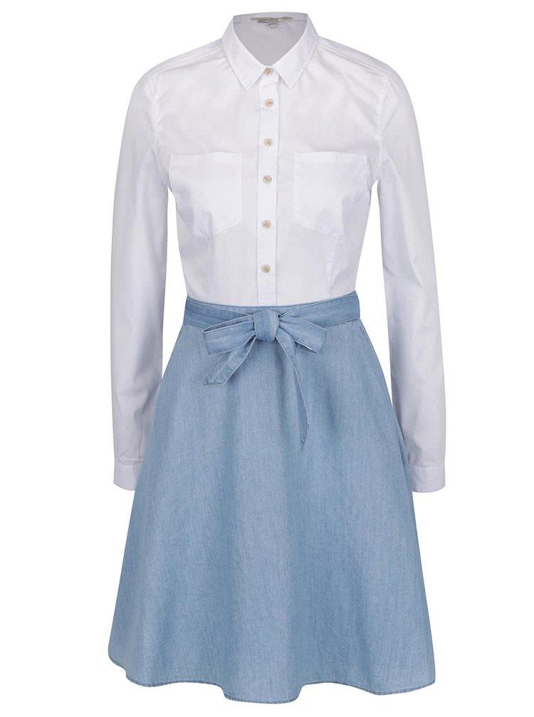 Rochie albă&albastru cu aspect 2în1 French Connection Hennessy
