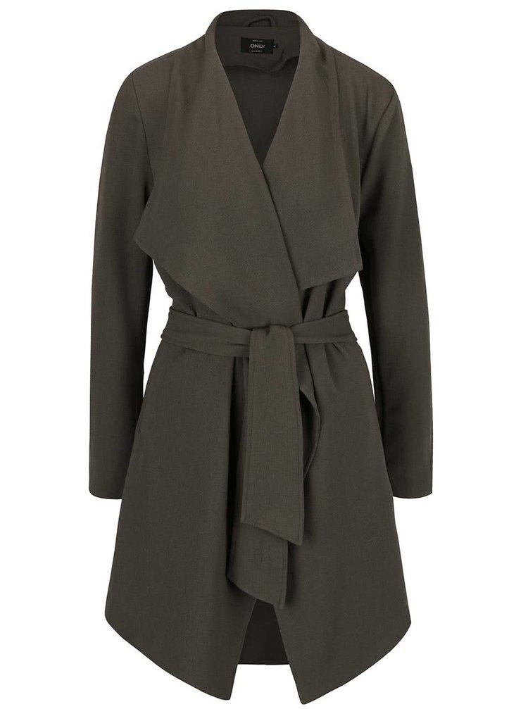 Palton subțire verde camuflaj ONLY Runa cu cordon în talie