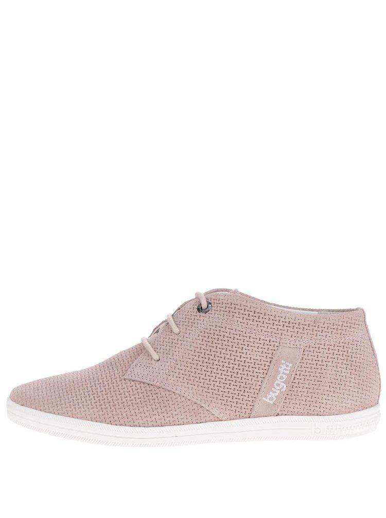 Pantofi roz înalți din piele întoarsă pentru femei bugatti Kaya Evo cu model perforat