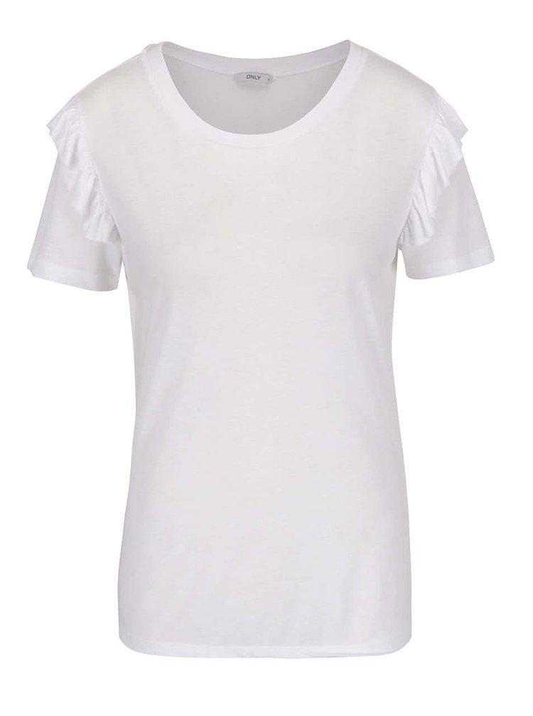 Bílé tričko s volány na ramenou ONLY Bibbi