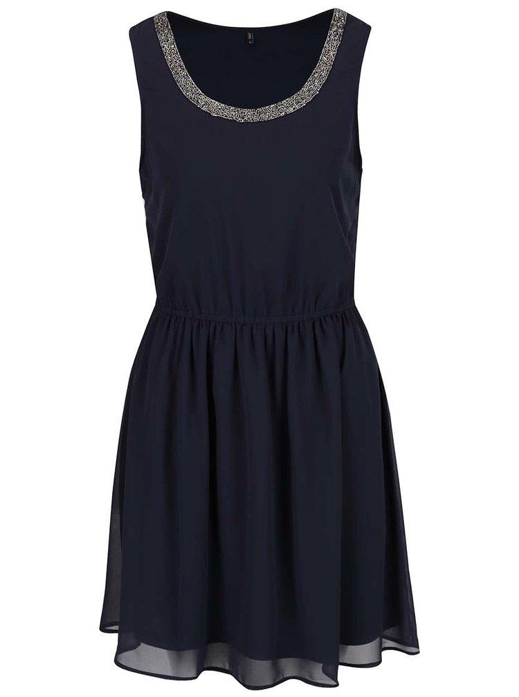Tmavě modré šaty s detailem ve stříbrné barvě ONLY Thea