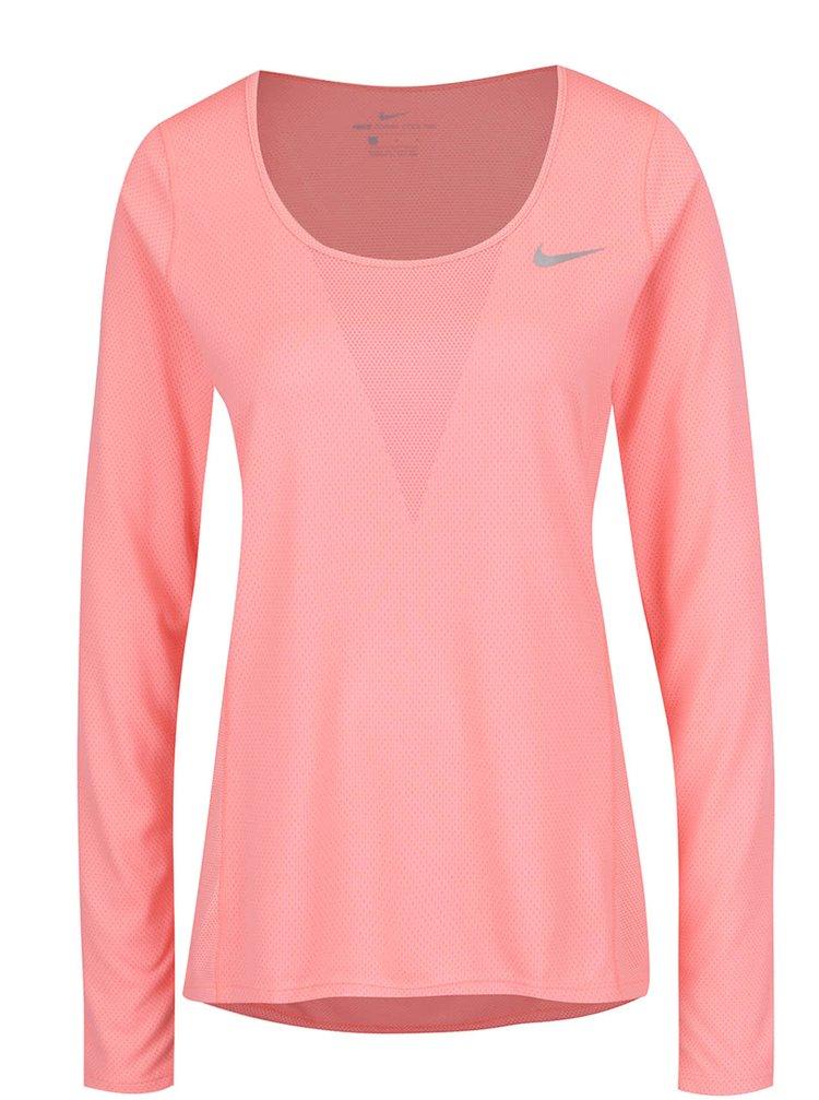 Růžové dámské funkční tričko s dlouhým rukávem Nike Zonal Cooling Relay