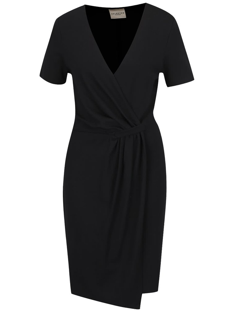 Černé asymetrické šaty Selected Femme Dinga