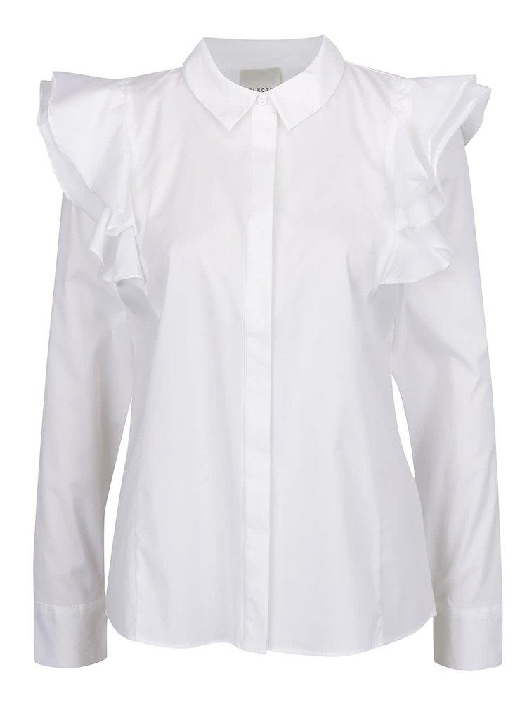 Cămașă albă Selected Femme Palma cu volane decorative