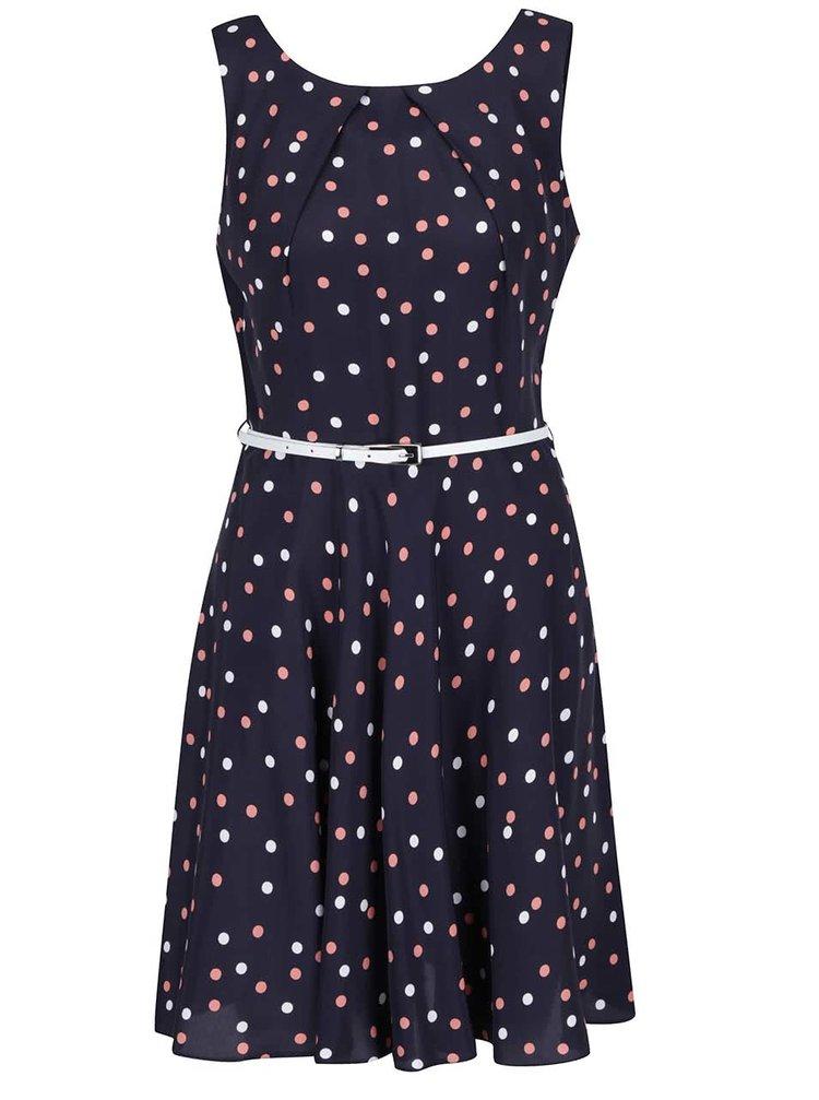 Tmavě modré puntíkované šaty s páskem Apricot