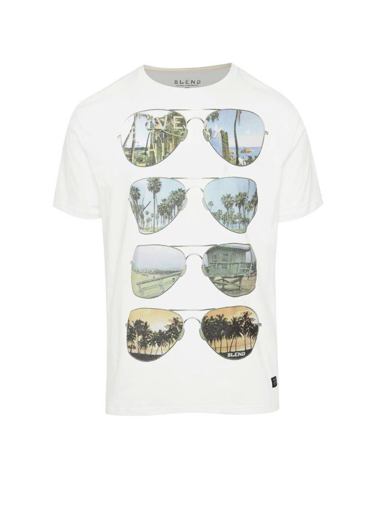 Tricou alb Blend din bumbac cu print
