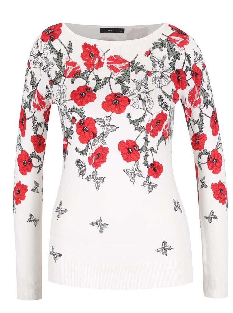 Krémový květovaný svetr M&Co