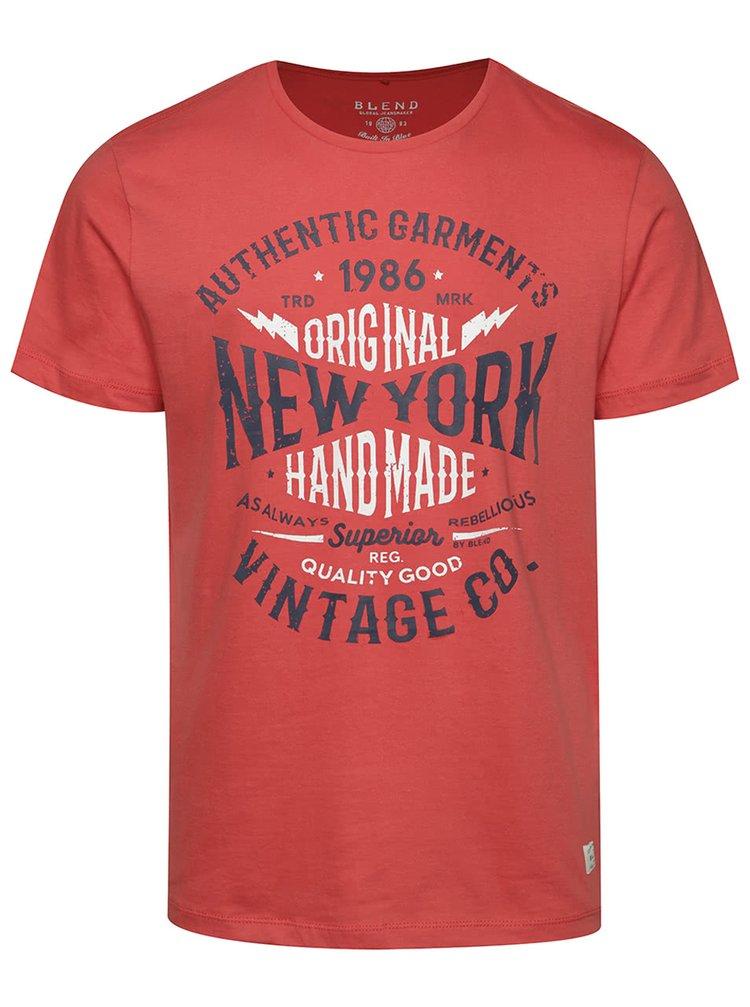 Tricou roșu Blend din bumbac cu print