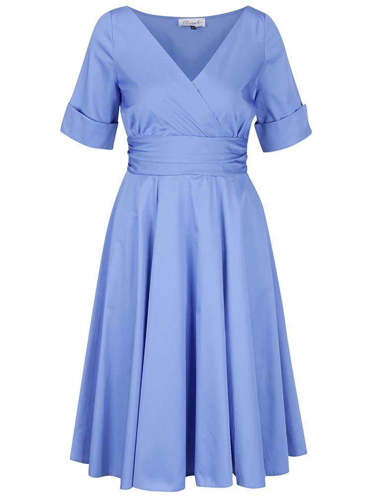 Rochie albastră Closet cu croi petrecut și mâneci scurte