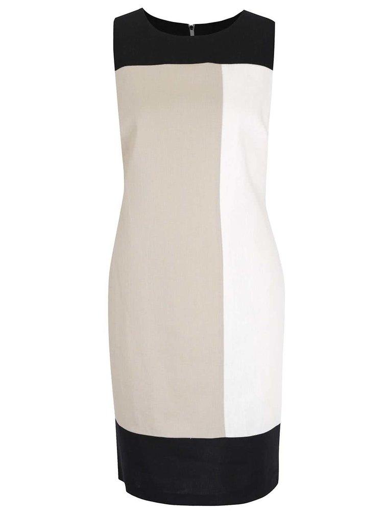 Černo-krémové lněné šaty M&Co